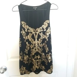 Express black with gold sequins design tank top. F
